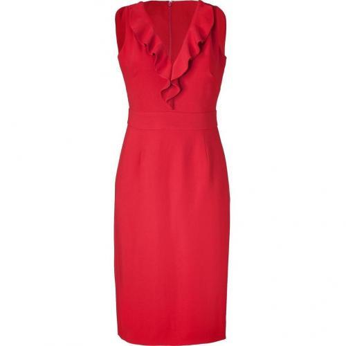 Valentino Crimson Red Ruffle Sheath Dress