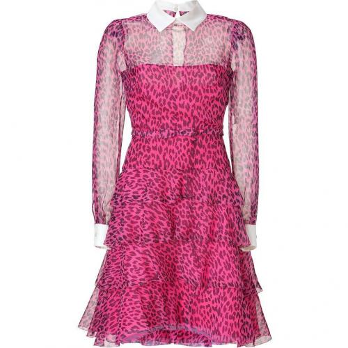 Valentino Fuchsia/Black Leopard Print Belted Silk Dress