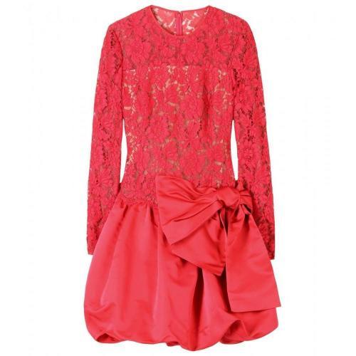 Valentino Kleid Aus Chantilly-Spitze Und Satin