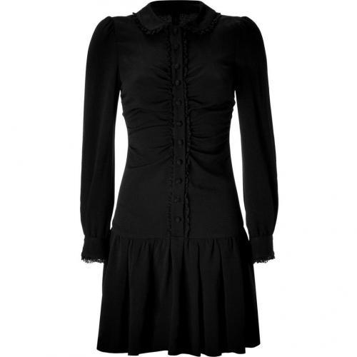 Valentino R.E.D. Black Draped Lace Trim Dress