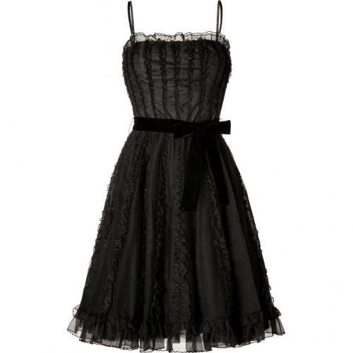 Valentino R.E.D. Black Ruffled Dress with Velvet Belt