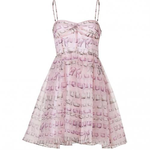 Valentino R.E.D. Pale Pink Silk Bow Print Dress