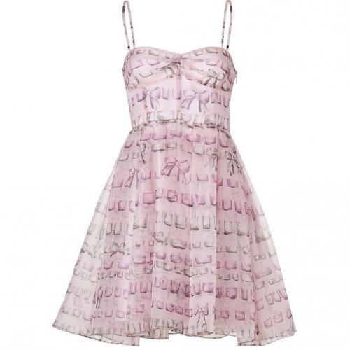 Valentino R.E.D. Pale Pink Silk Bow Print Dress