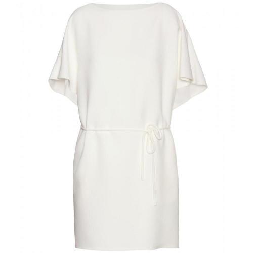 Valentino Seidenkleid Mit Gürtel Weiß