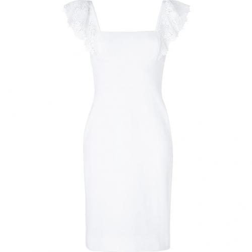 Valentino White Cotton Lace Trim Dress