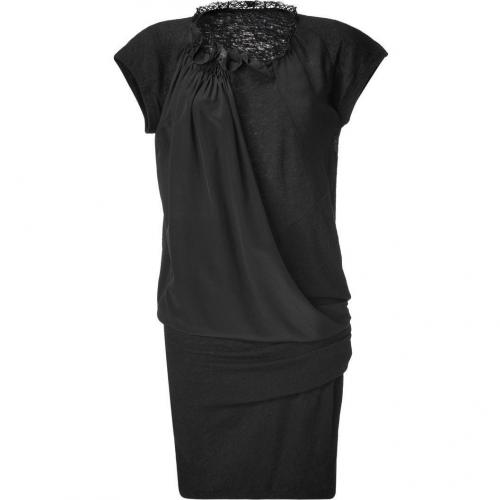 Vanessa Bruno Black Draped Wool-Silk Combo Dress