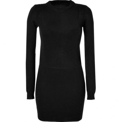 Vanessa Bruno Black Textural Knit Wool Dress