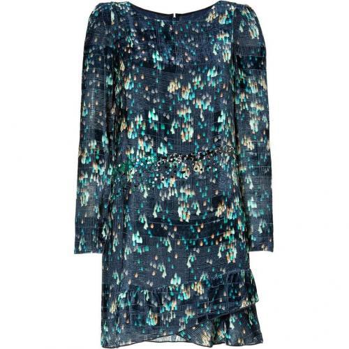 Vanessa Bruno Emerald/Navy Embellished Velvet Dress