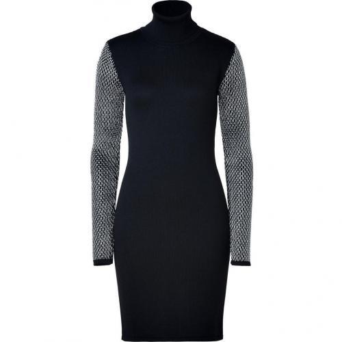Versace Black/Silver Wool-Silk-Blend Knit Dress