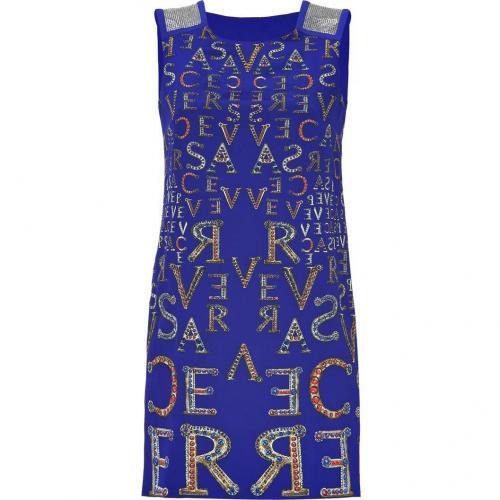 Versace Electric Blue Printed Silk Dress