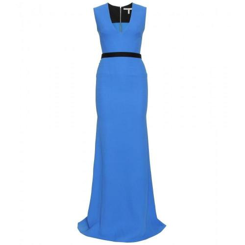 Victoria Beckham Bodenlanges Kleid Mit Gürtel Blue