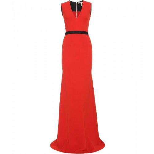 Victoria Beckham Bodenlanges Kleid Mit Gürtel Orange