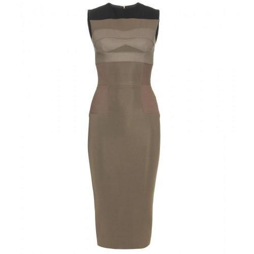 Victoria Beckham Tailliertes Kleid Oliv