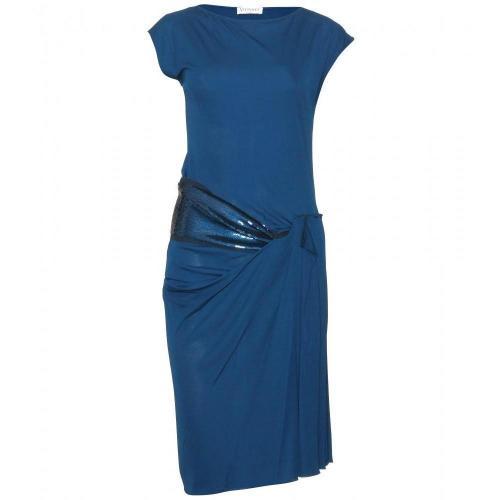 Vionnet Asymmetrisches Pailletten-Kleid Blue